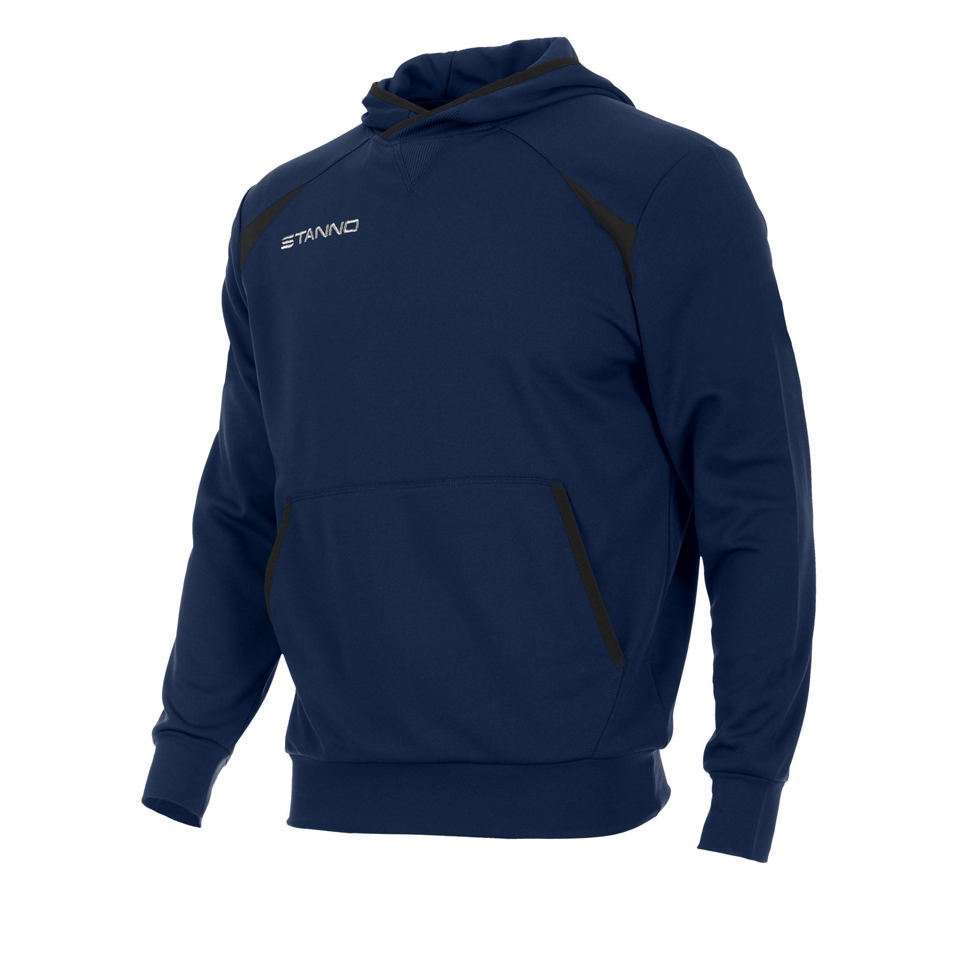 Front of Stanno Centro hooded sweat in navy with black contrast decal.