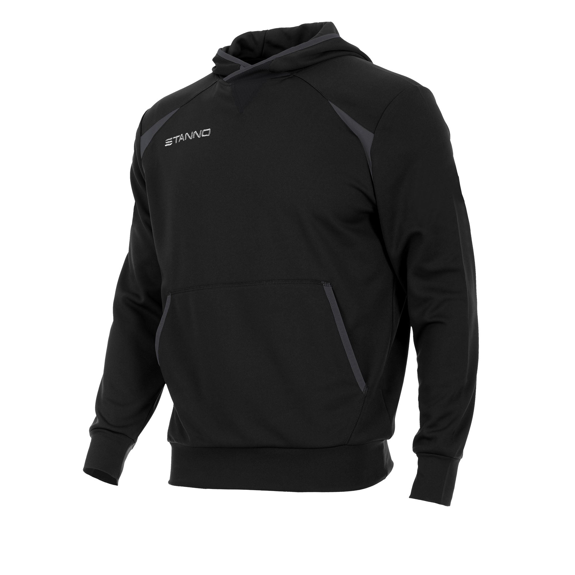 Front of Stanno Centro hooded sweat in black with anthracite contrast decal.