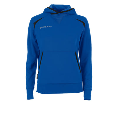 Front of Stanno Centro Hooded sweat ladies in royal blue with black decal