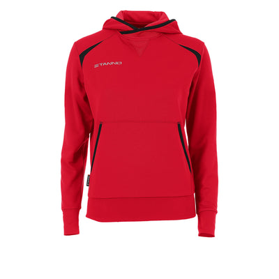 Front of Stanno Centro Hooded sweat ladies in red with black decal