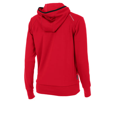 rear of Stanno Centro hooded sweat ladies in red