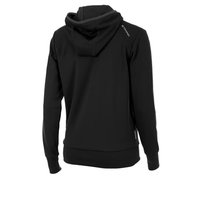 rear of Stanno Centro hooded sweat ladies in black