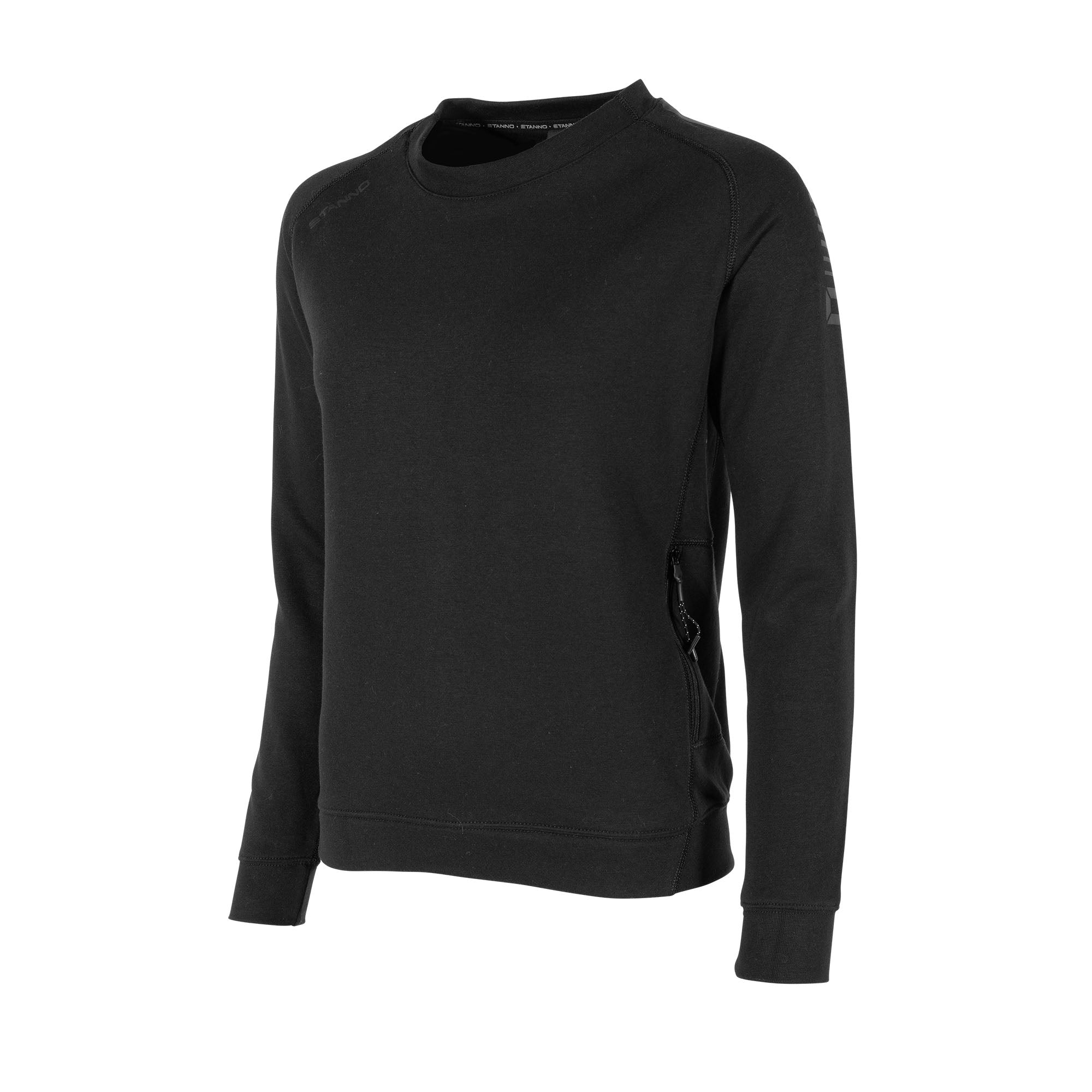 Front of Stanno Ease crewneck ladies in black with raglan sleeve. Printed logo on shoulder