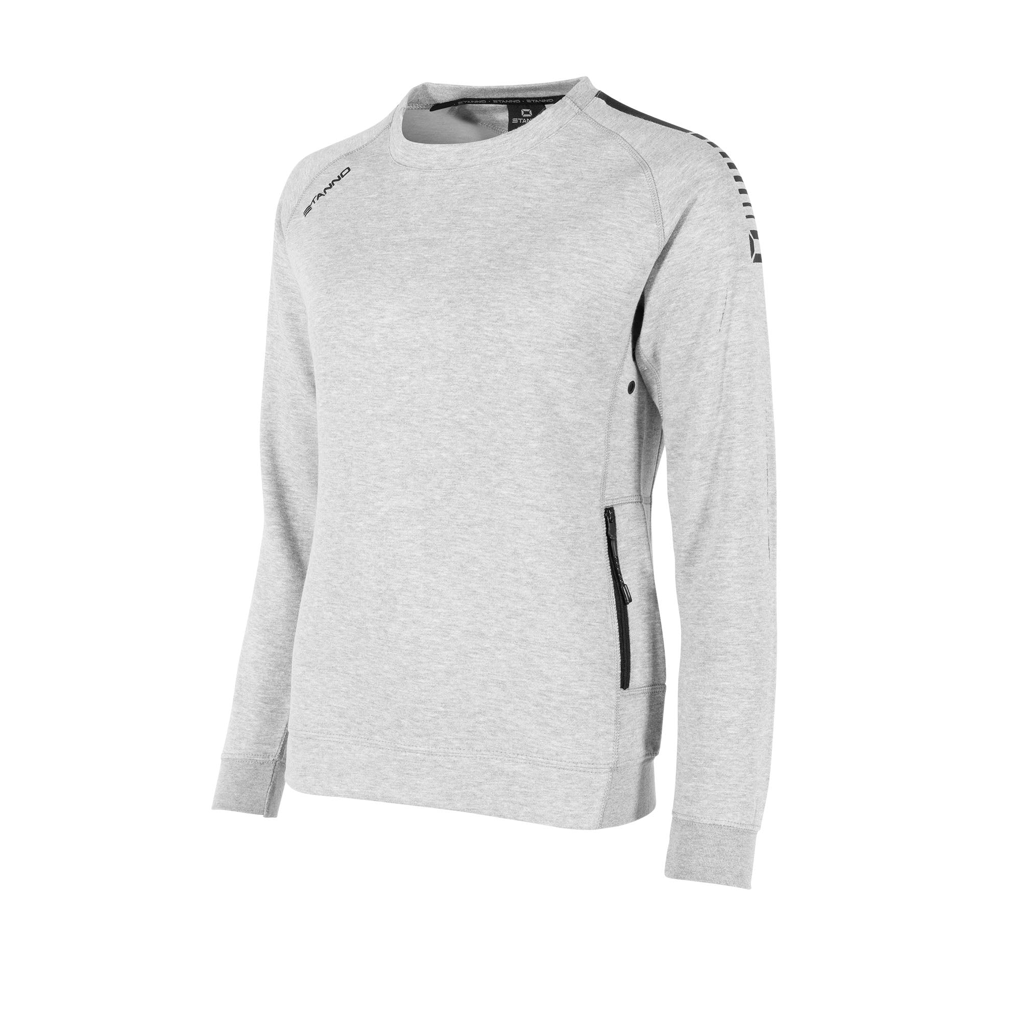 Front view of Stanno Ease crewneck ladies in grey with raglan sleeve. Printed black logo on shoulder