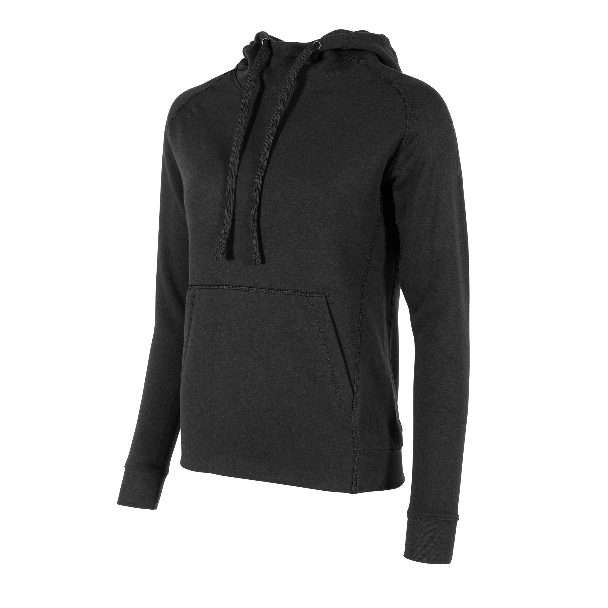 front view of a Stanno Ease Hoodie Ladies in black, with kangaroo pouch to the front. Drawstring hood.