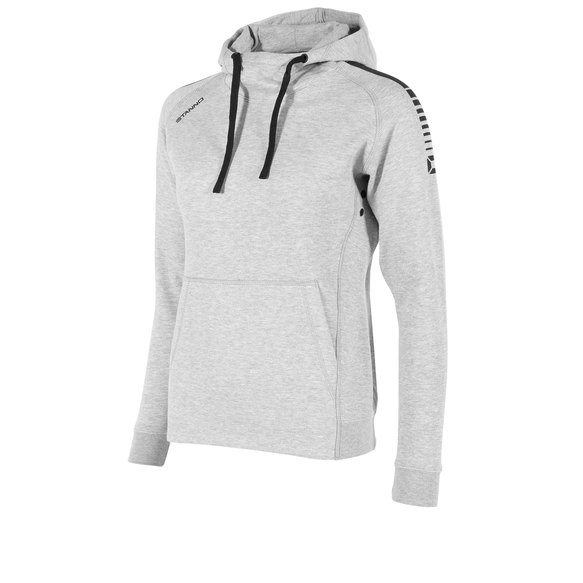 front view of a grey Stanno Ease Hoodie Ladies with black drawcord and shoulder printed design. Front Kangaroo pouch.