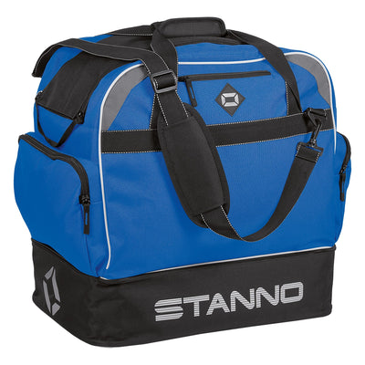 Stanno Excellence Pro Sports Bag in blue and contrast black with Stanno graphic and lettering logo on hardbase sides.