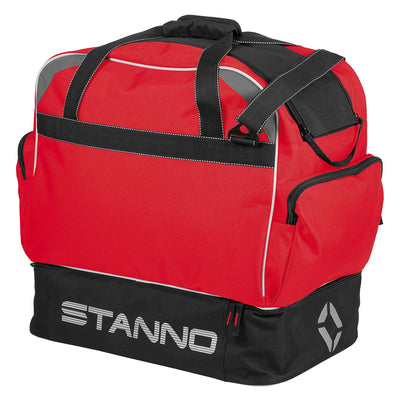 Stanno Excellence Pro Sports Bag in red and contrast black with Stanno graphic and lettering logo on hardbase sides.