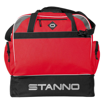 side of Stanno Excellence Pro Sports Bag in red and contrast black with Stanno lettering logo on hardbase side