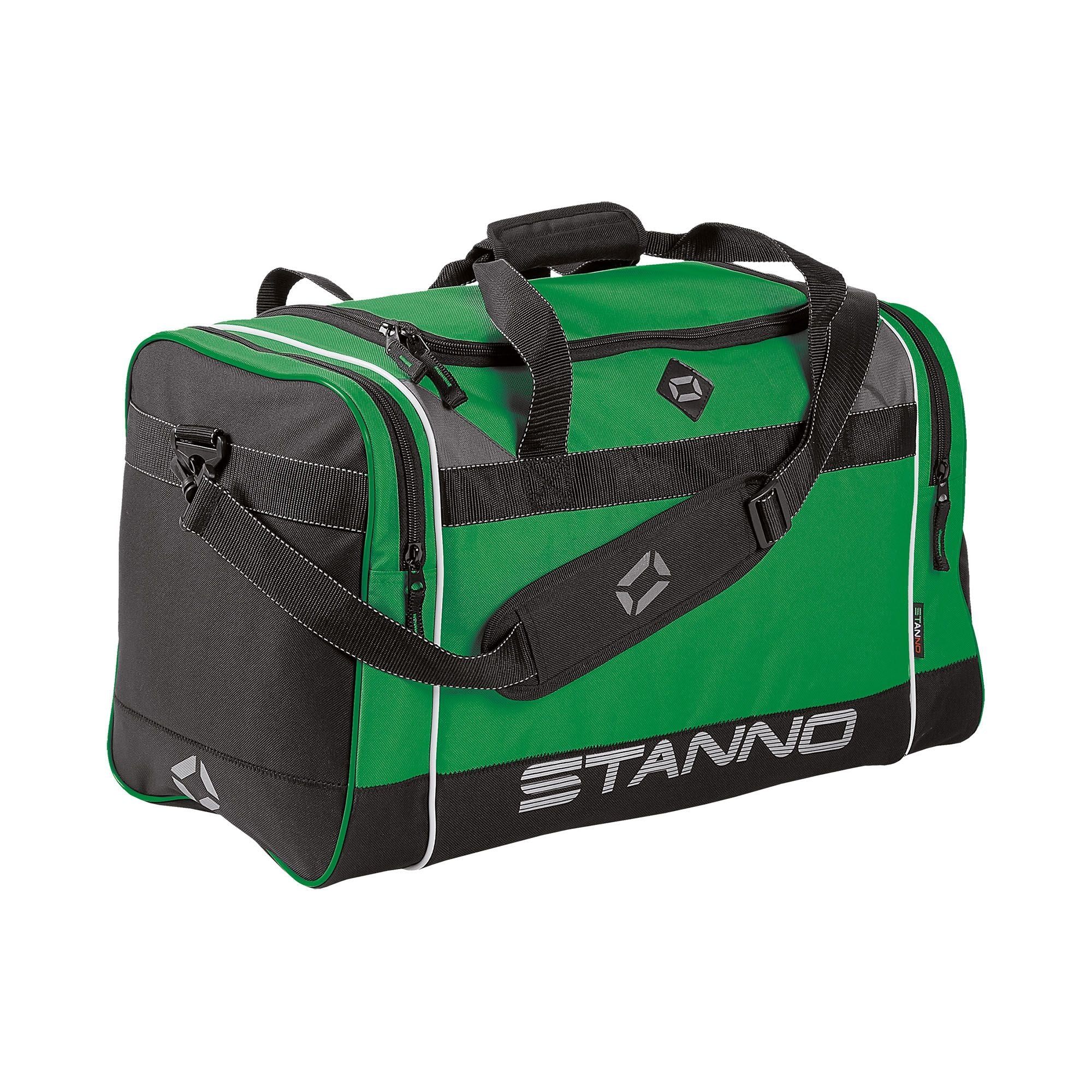 Stanno Sevilla Excellence sports bag in green with contrast black end panelswith shoulder strap. Large text logo at the bottom of the side panel.