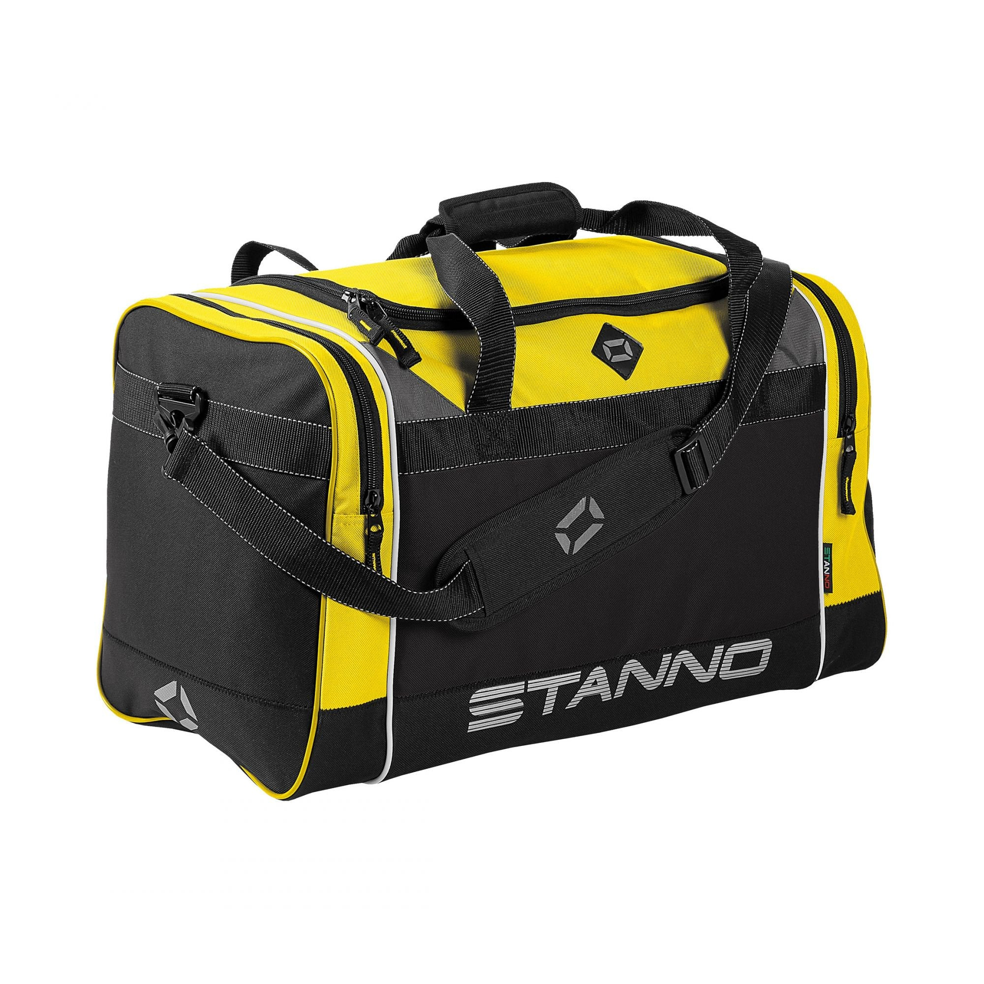Stanno Sevilla Excellence sports bag in yellow with contrast black side panelswith shoulder strap. Large text logo at the bottom of the side panel.