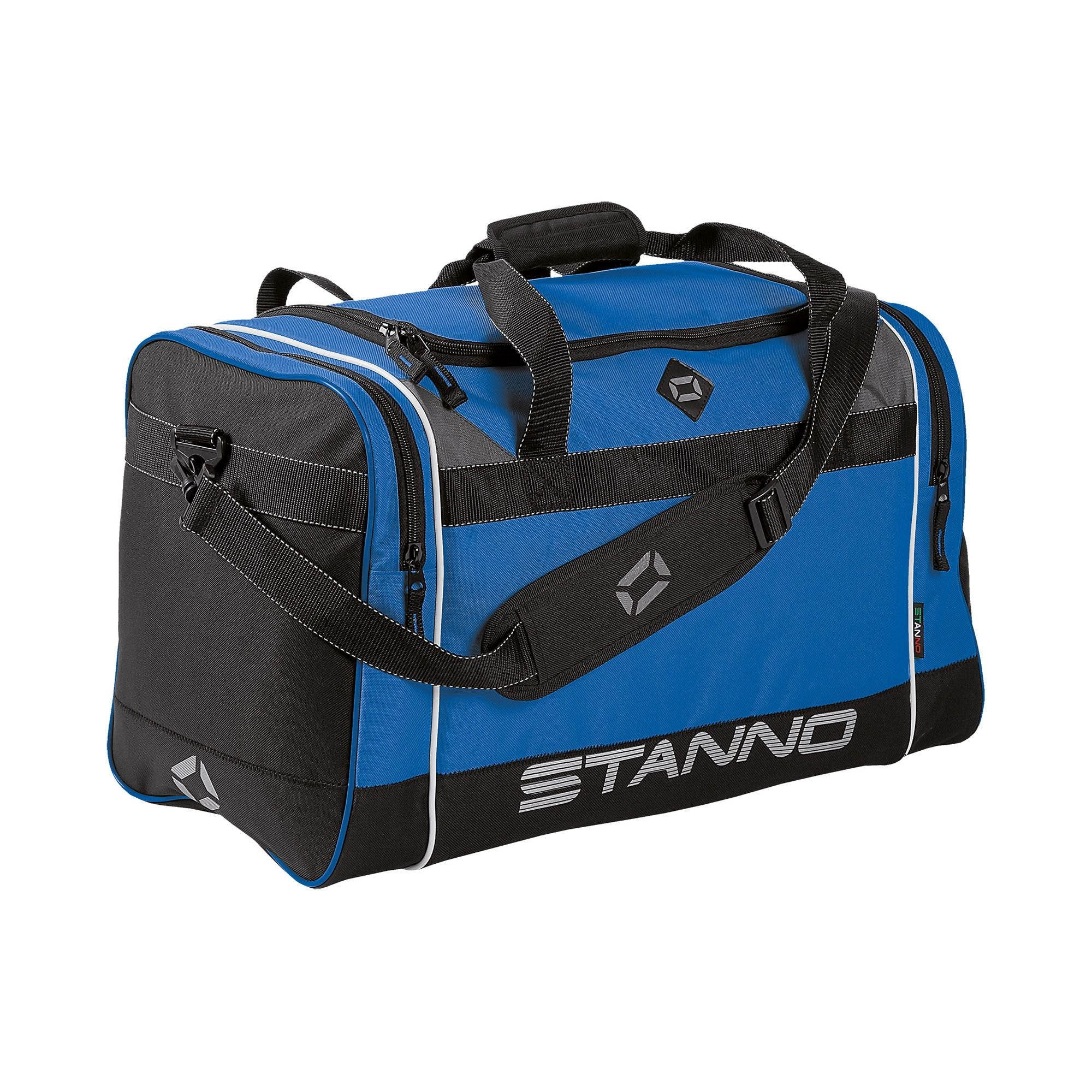 Stanno Sevilla Excellence sports bag in blue with contrast black end panelswith shoulder strap. Large text logo at the bottom of the side panel.