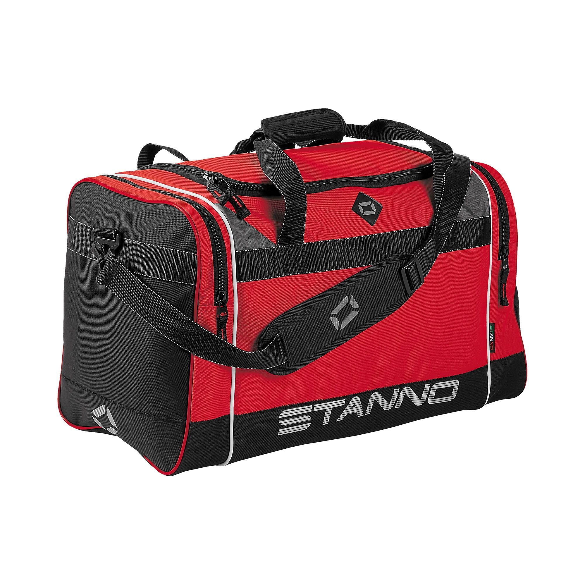Stanno Sevilla Excellence sports bag in red with contrast black end panelswith shoulder strap. Large text logo at the bottom of the side panel.