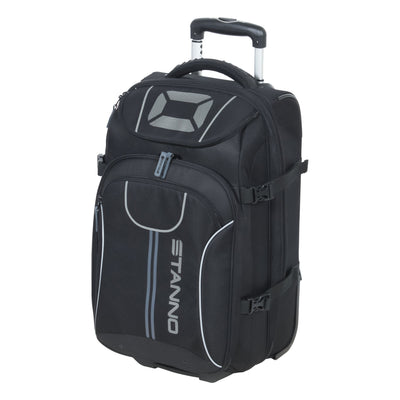 Stanno Trolley bag medium in black with extendable handgrip and several zipped compartments