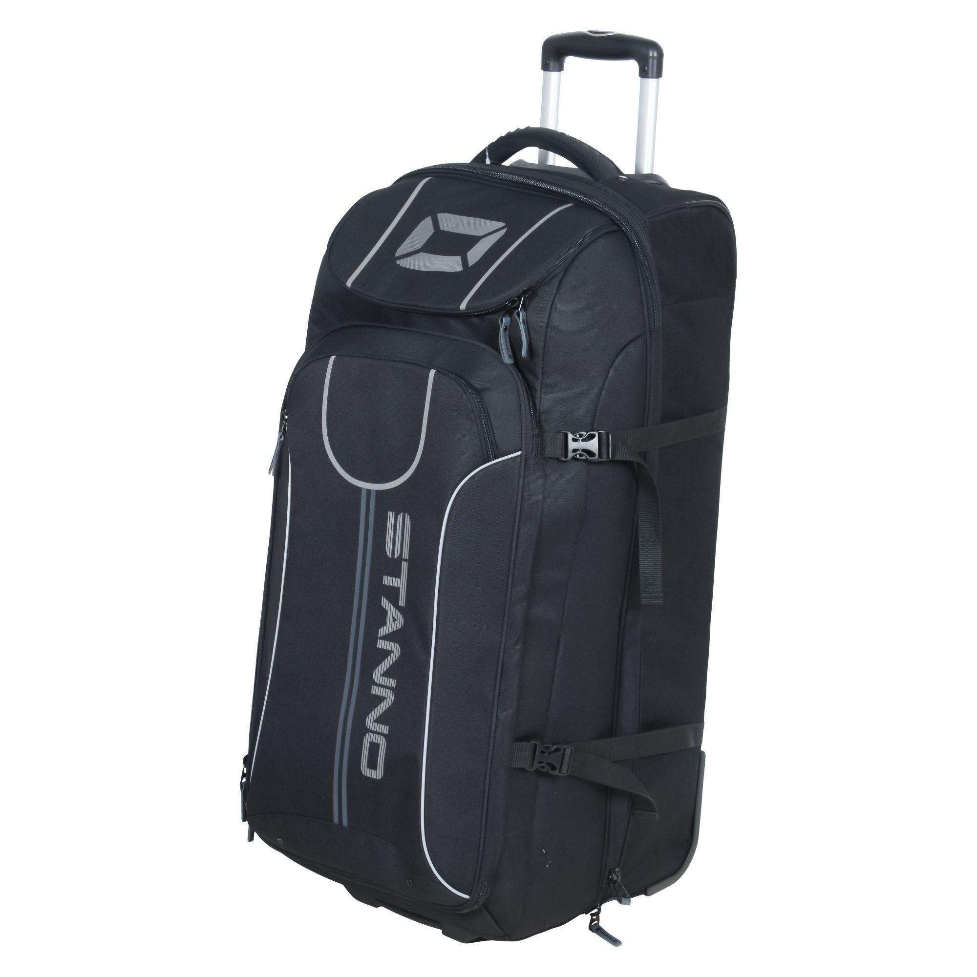 Large Stanno Trolley Bag in black with adjustable handgrip. Stanno printed logo and text.