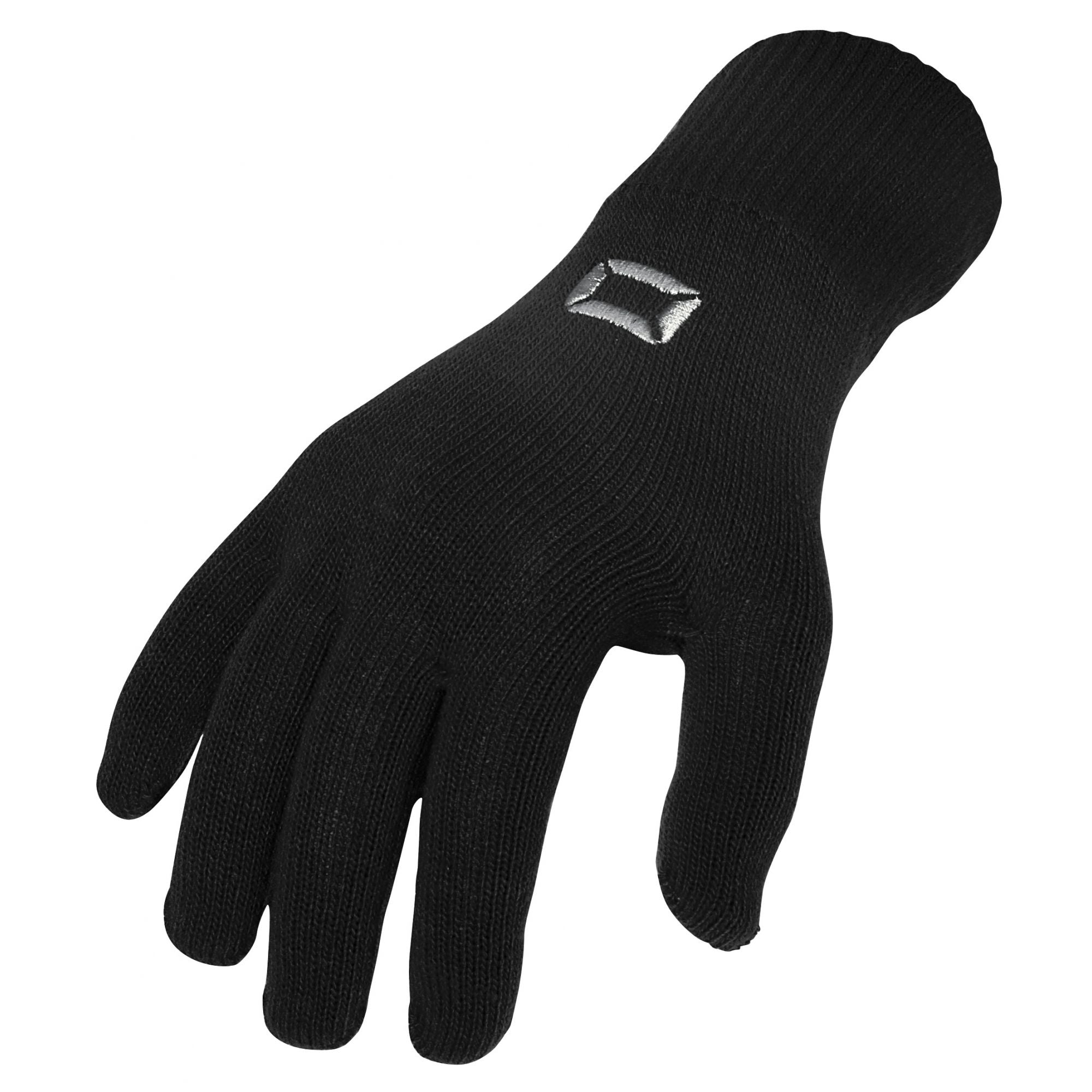 Stanno Stadium player glove in black with embroidered silver logo on back of hand