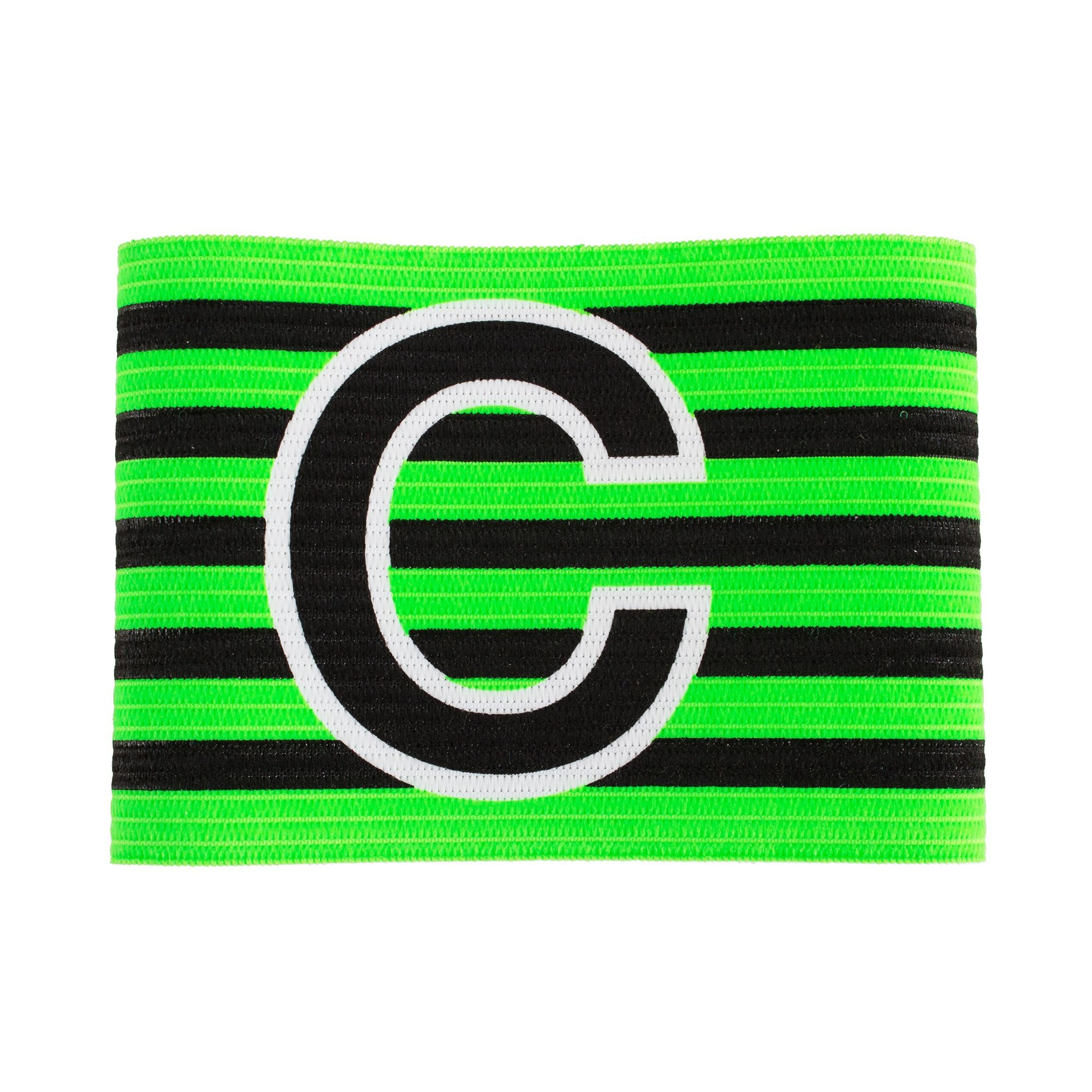 Green and black horizontal striped captains armband with large black C with white contour outline