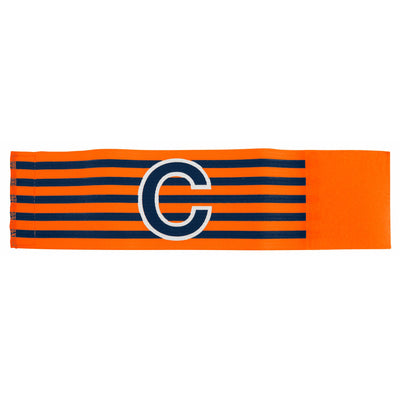 orange and black horizontal striped captains armband with large black C with white contour outline