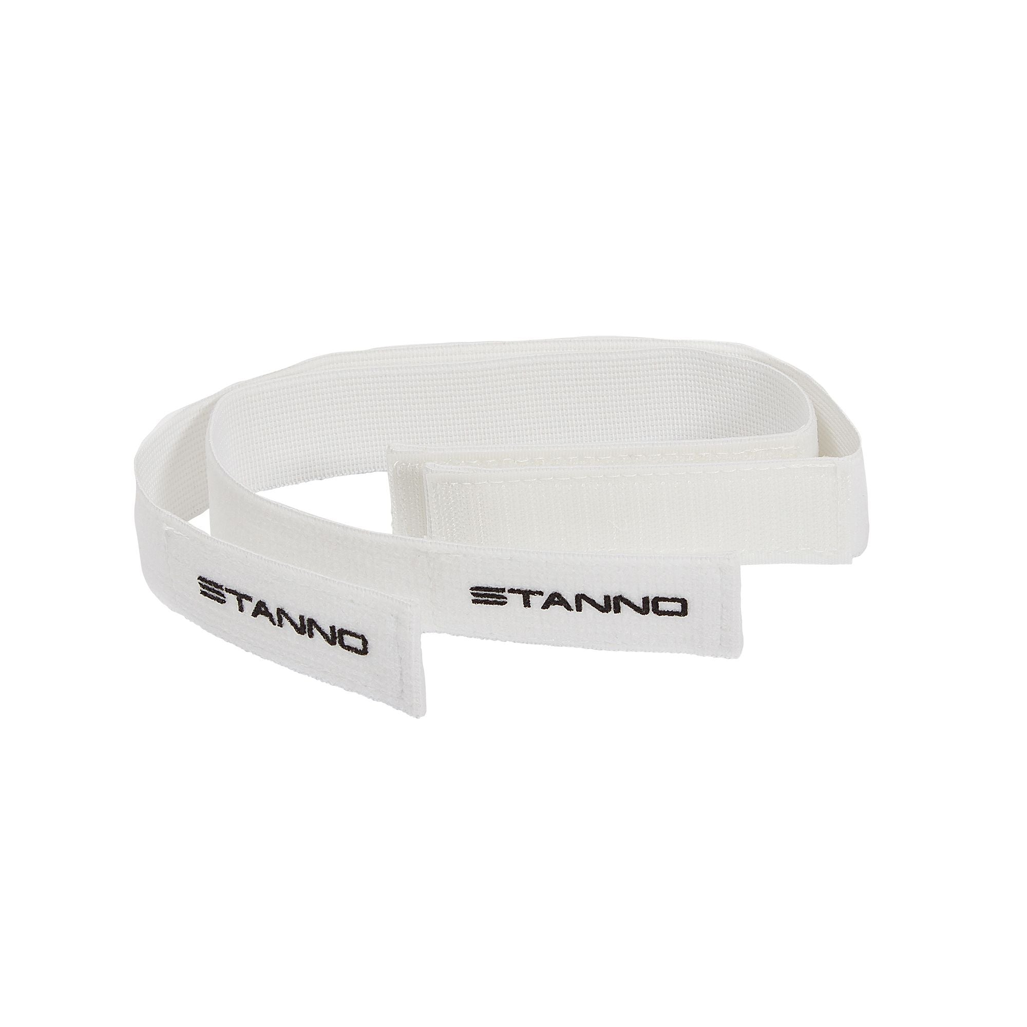 2 Stanno white socks holders with black printed Stanno logo