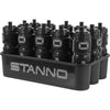 Stanno water bottle carrier the Luxe with 12 bottles, silver logo on the bottles and Text logo on the side of the carrier.