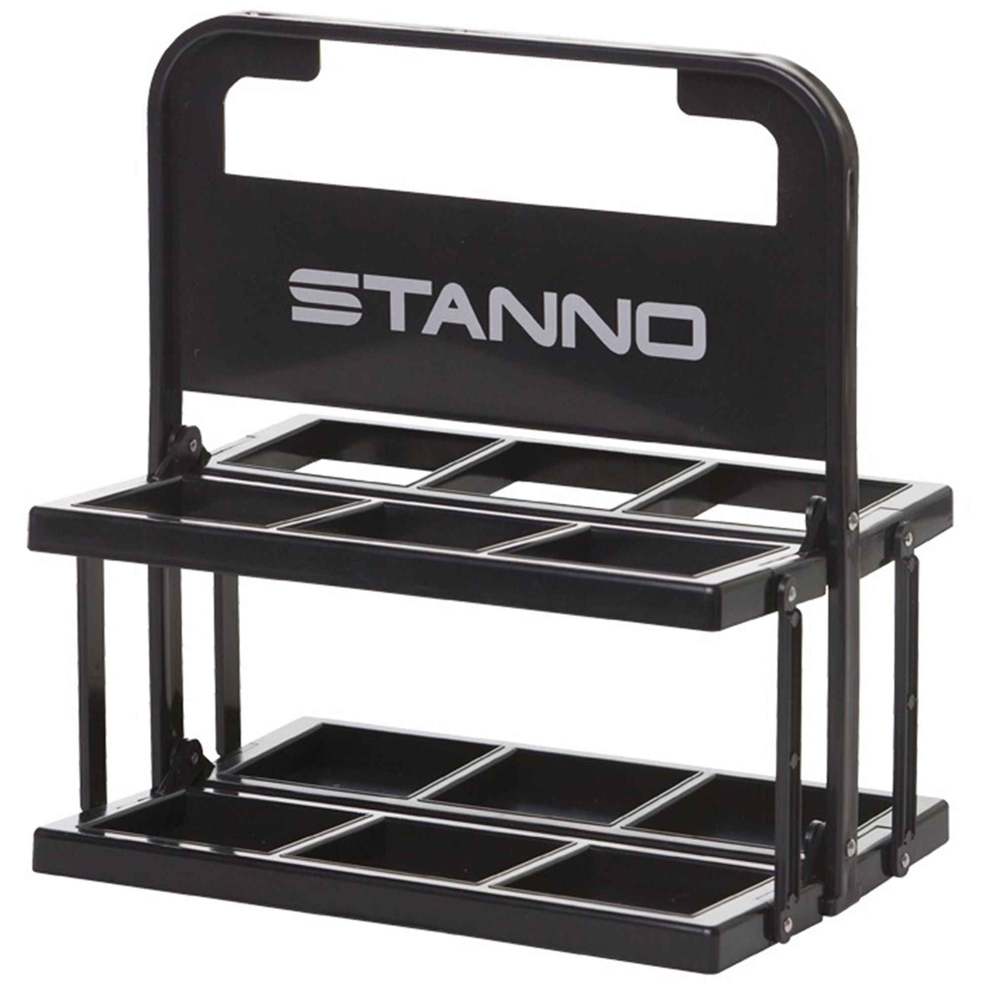 Black Stanno plastic 6 bottle set carrier with Stanno letter logo on the handle