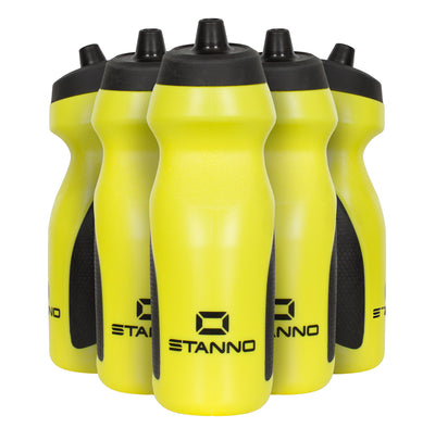 Stanno Centro Sports Bottle Set in yellow with black tops, and black logos at the bottom of the bottle.