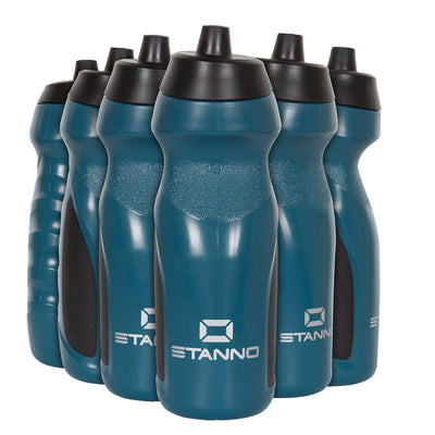 Stanno Centro Sports Bottle Set in navy with black tops, and Silver logos at the bottom of the bottle.