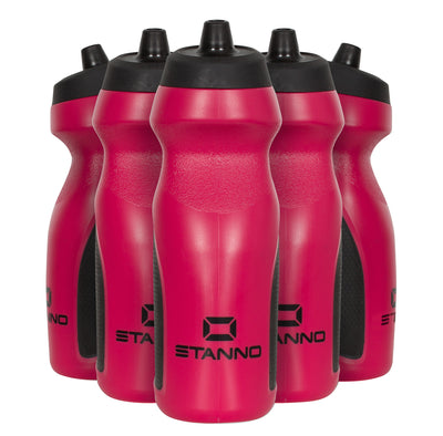 Stanno Centro Sports Bottle Set in red with black tops, and black logos at the bottom of the bottle.