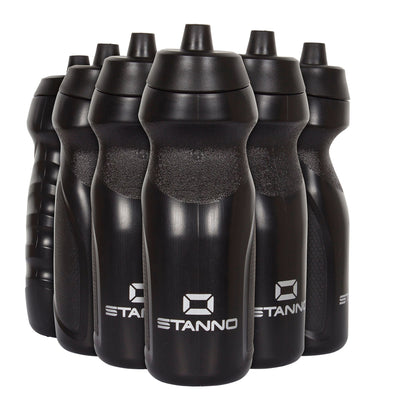 Stanno Centro Sports Bottle Set in black with black tops, and Silver logos at the bottom of the bottle.