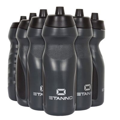 Stanno Centro Sports Bottle Set in grey with black tops, and Silver logos at the bottom of the bottle.