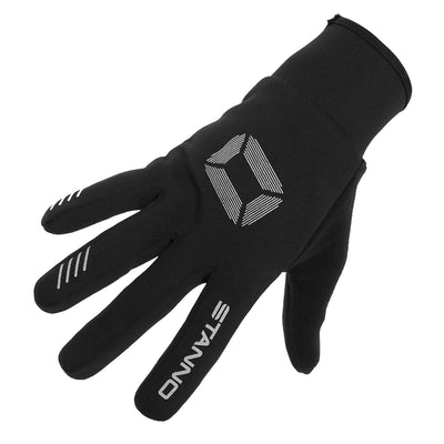 Stanno player glove in black, with silver logo on back of hand, and Stanno lettering logo on fore finger.