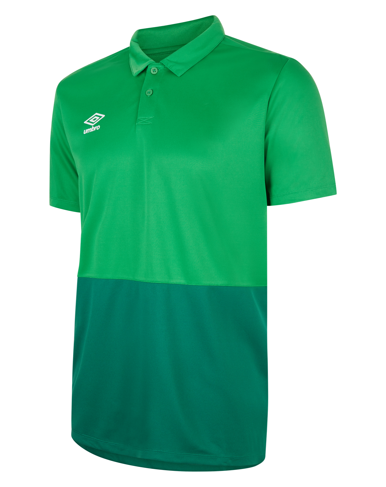 Umbro training poly polo with emerald green top half and contrast darker green bottom half