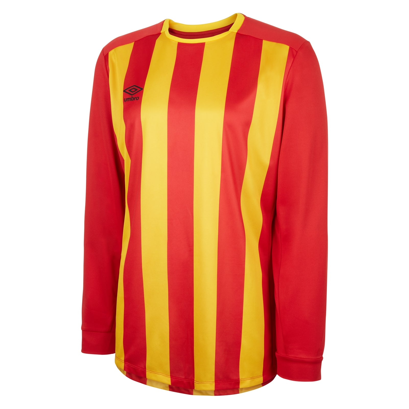 Umbro Milan jersey in long sleeve with vermillion (red) and SV Yellow stripes
