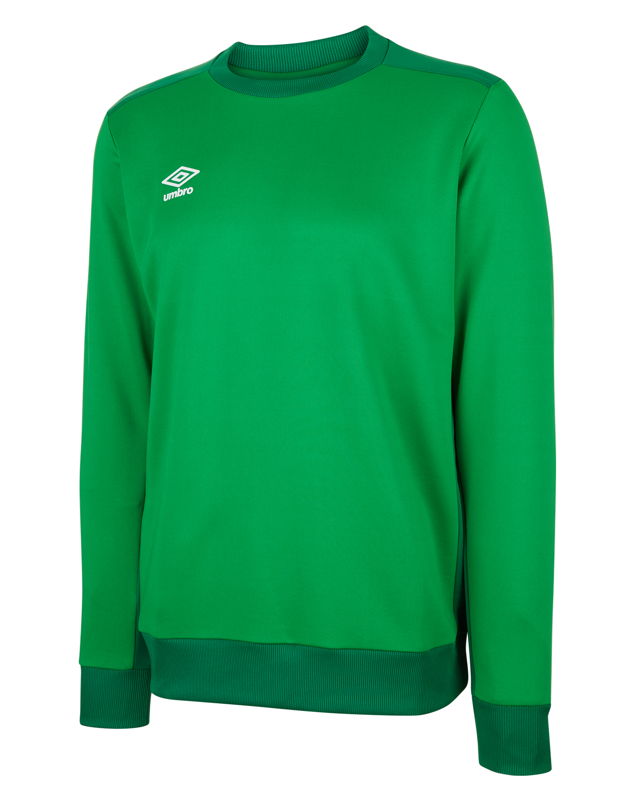 Umbro training poly sweat in emerald green with contrast darker green shoulder and side panels