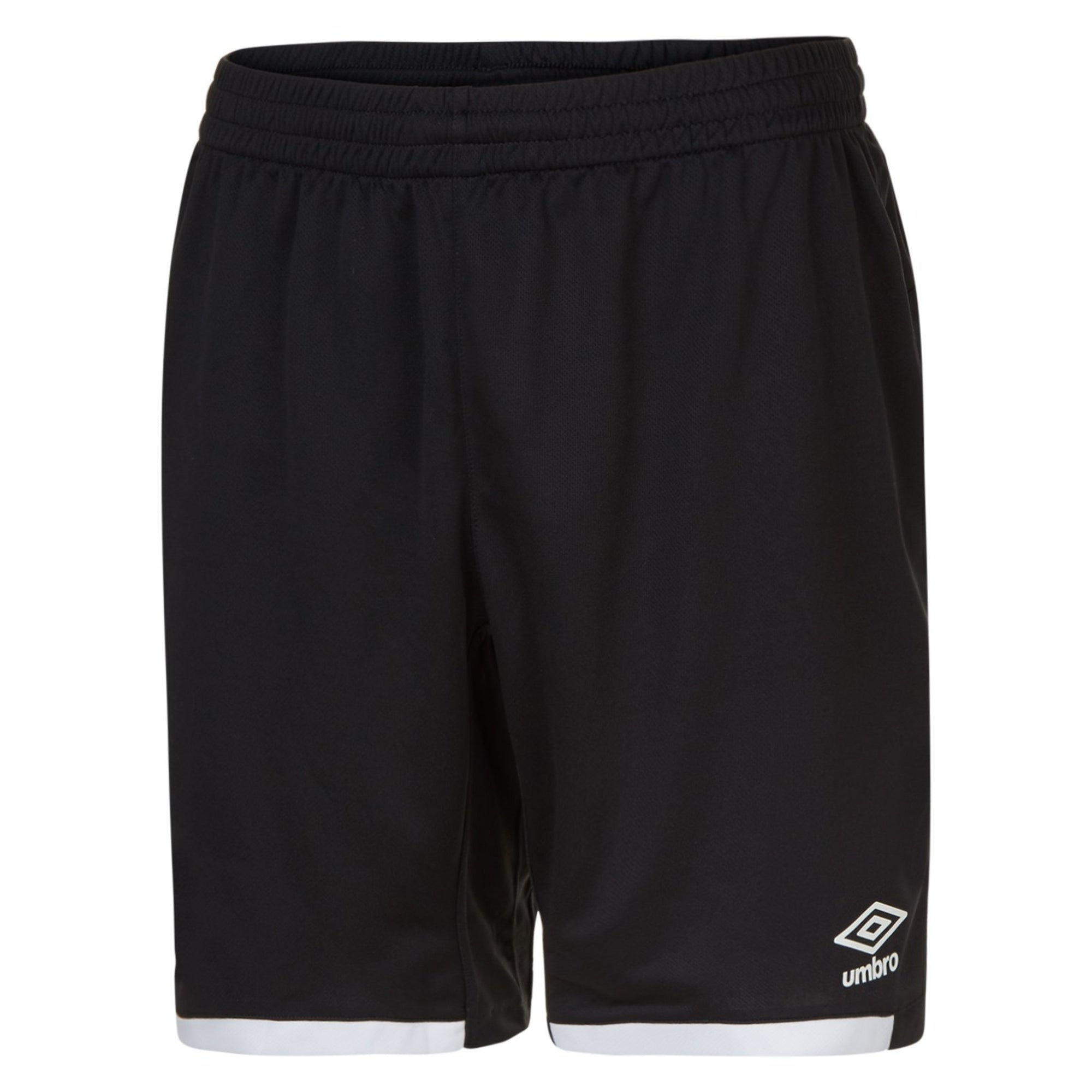 Black Umbro Premier shorts with contrast white hems