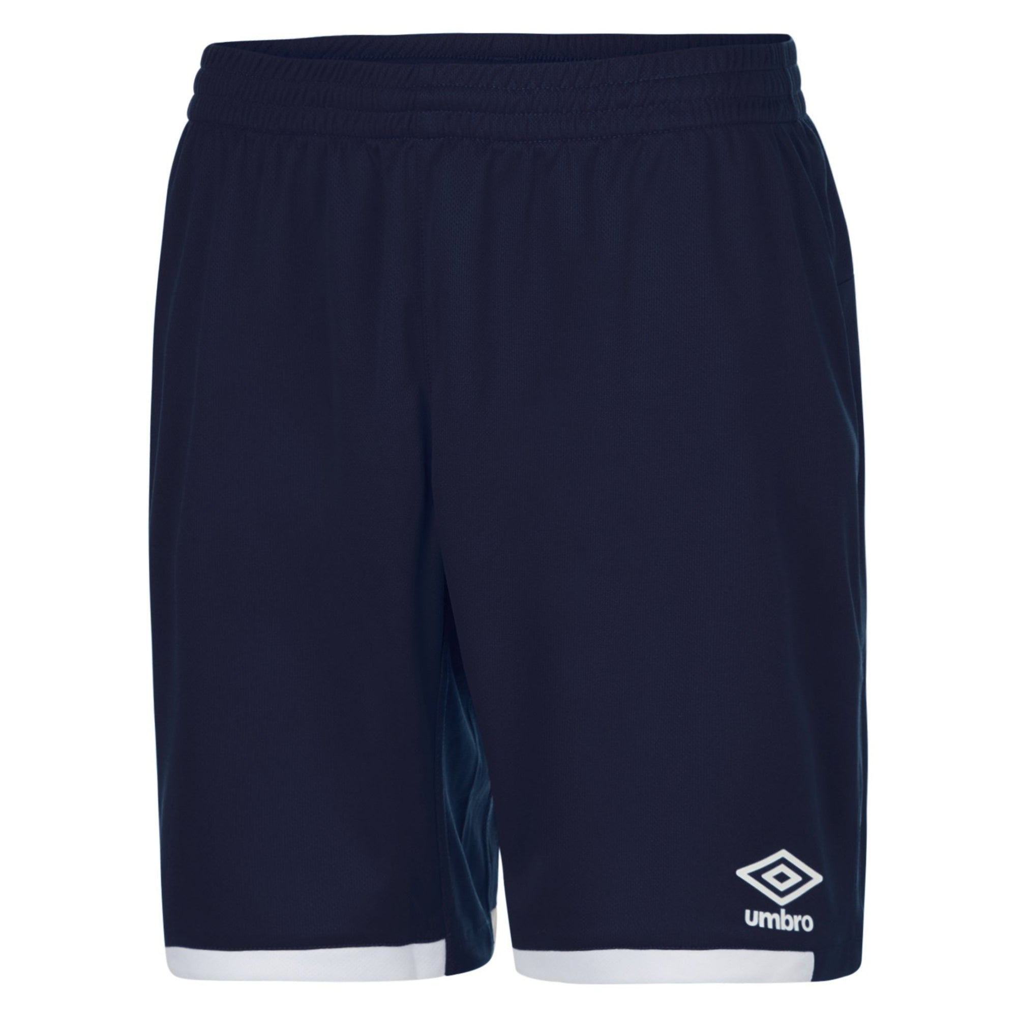 Navy Umbro Premier shorts with contrast white hems