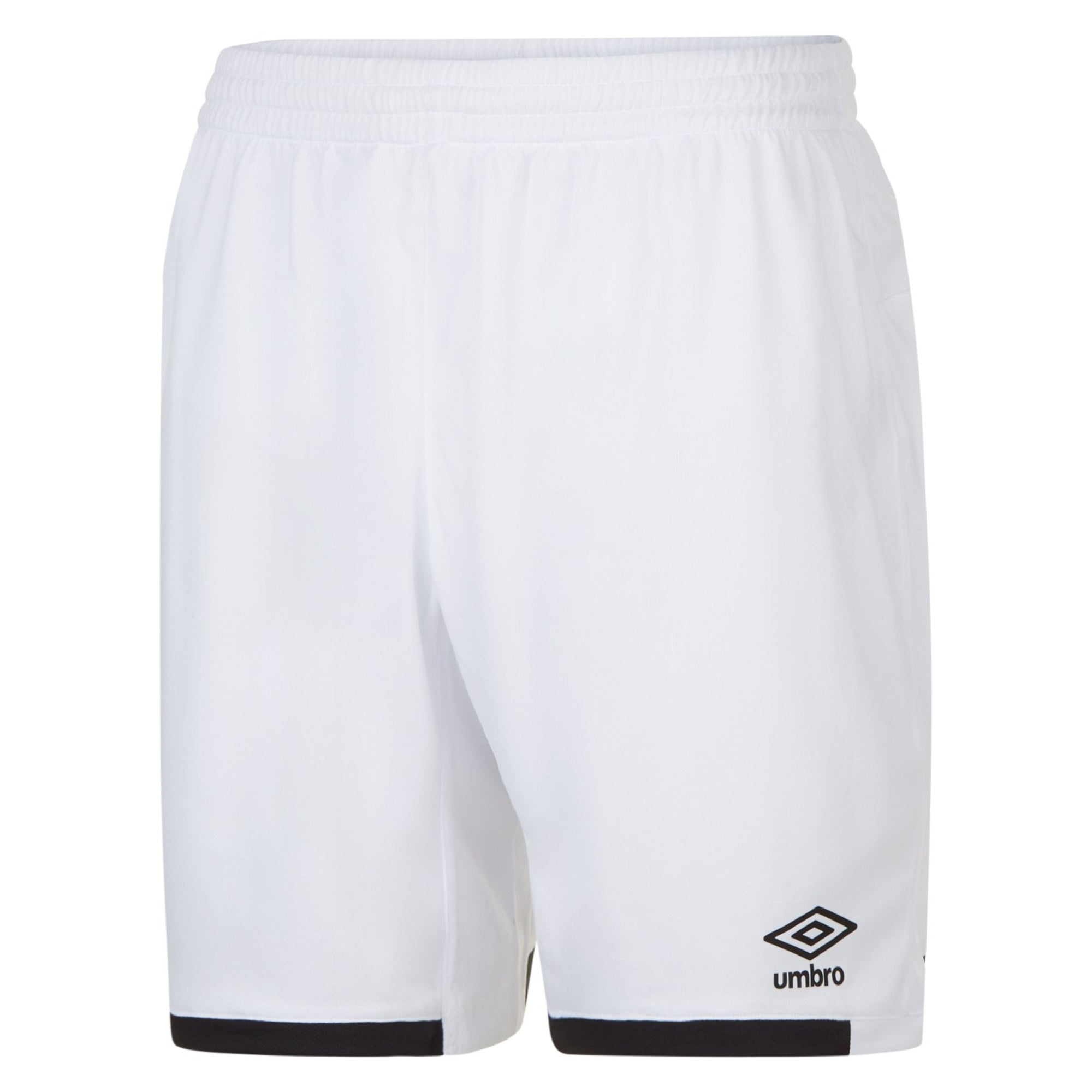 White Umbro Premier shorts with contrast black hems