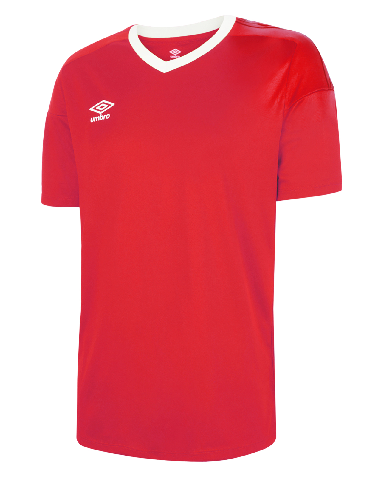 Umbro Legacy jersey in vermillion (red) with white v-neck collar