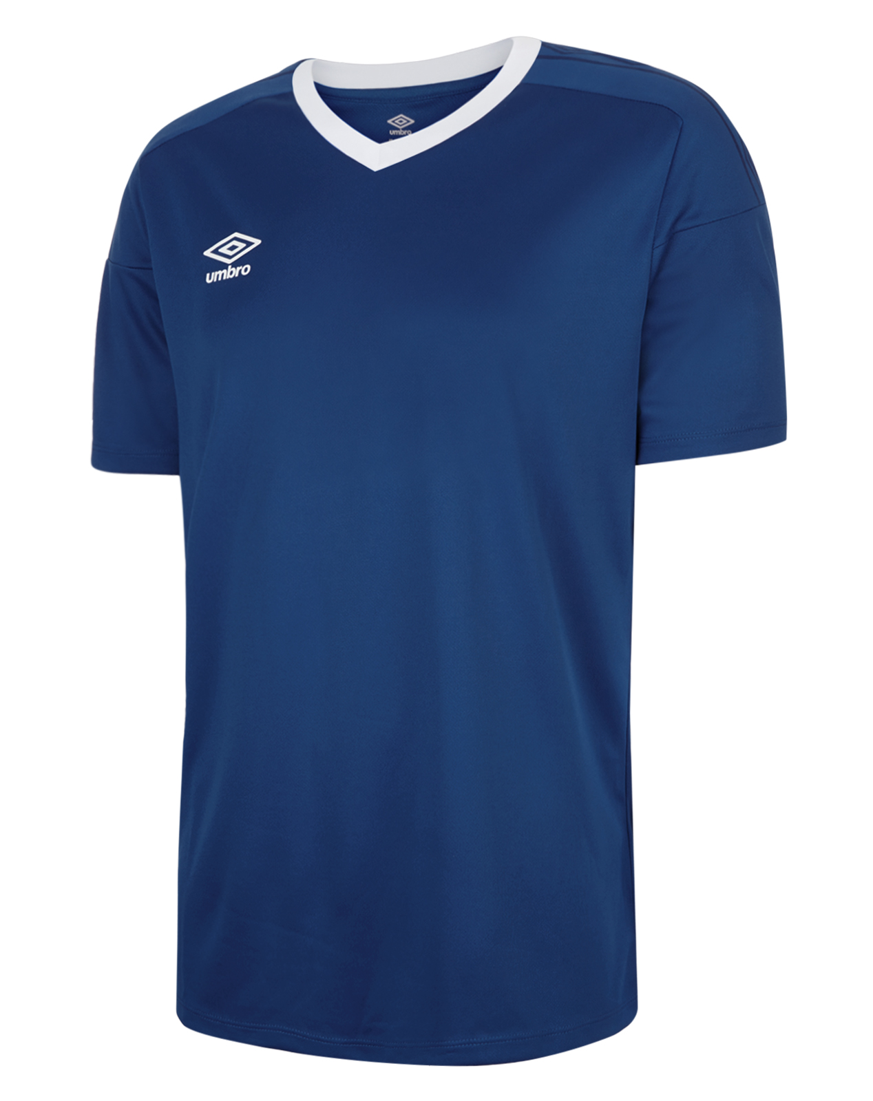 Umbro Legacy jersey in navy with white v-neck collar