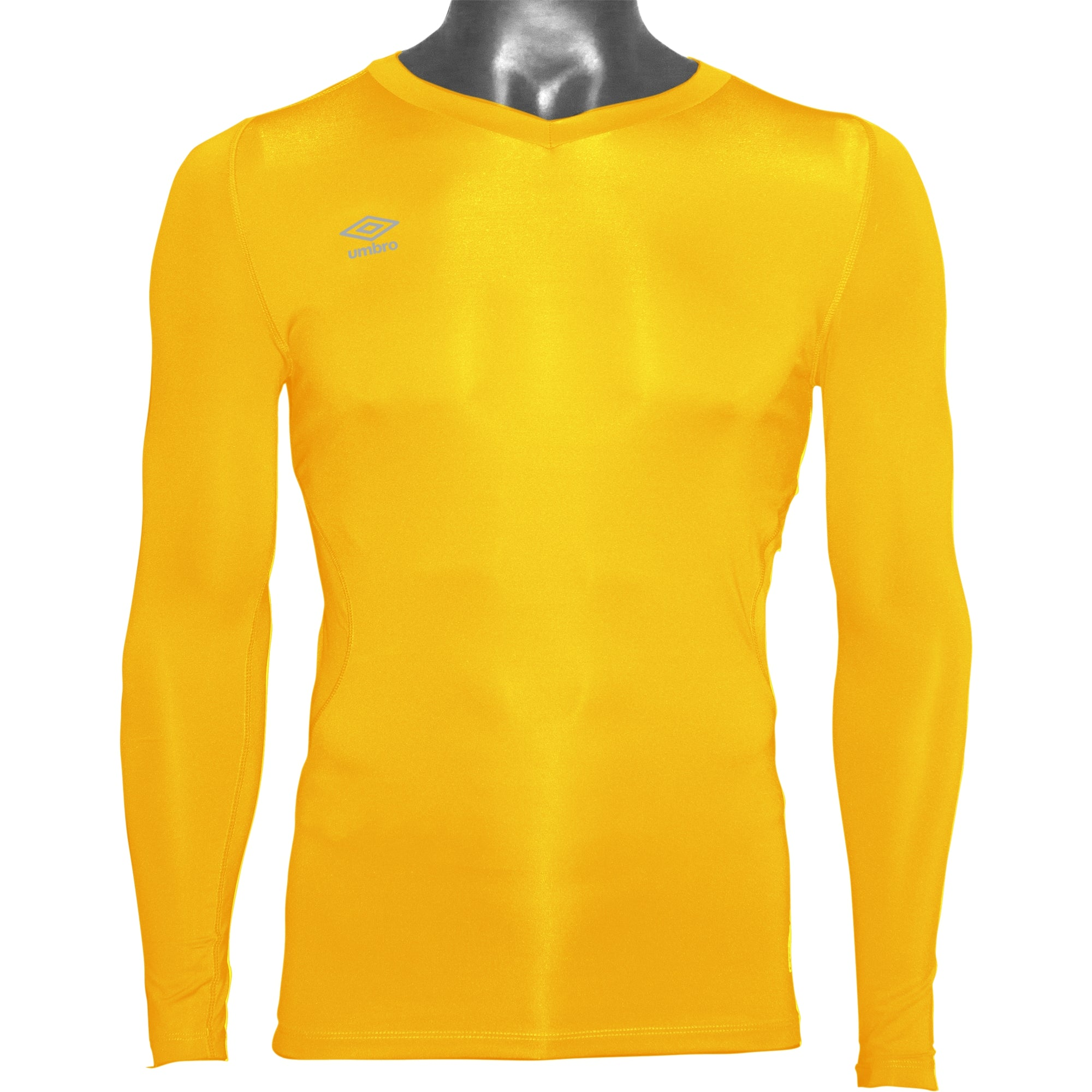 Umbro Elite V Neck baselayer in yellow with reflective stacked diamond logo on right chest
