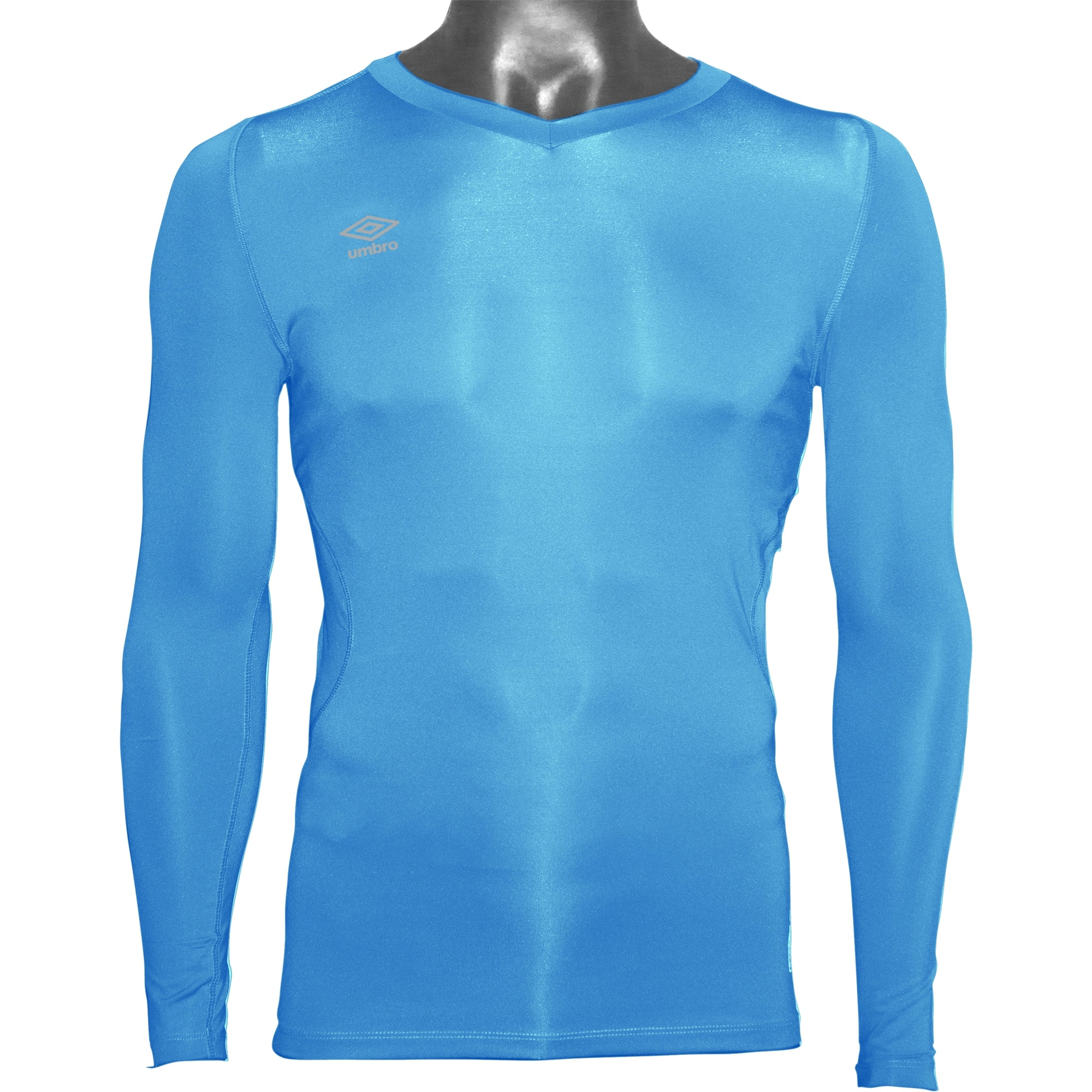 Umbro Elite V Neck baselayer in sky blue with reflective stacked diamond logo on right chest