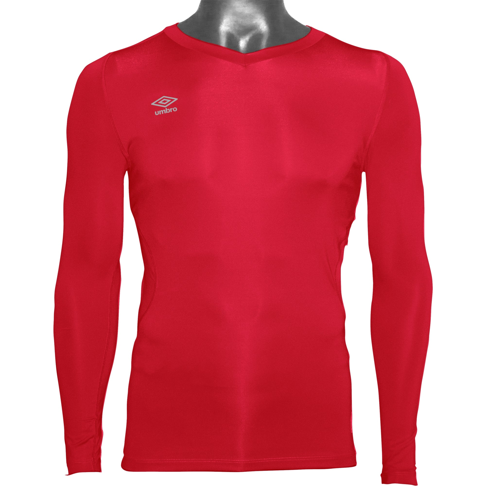 Umbro Elite V Neck baselayer in vermillion (red) with reflective stacked diamond logo on right chest