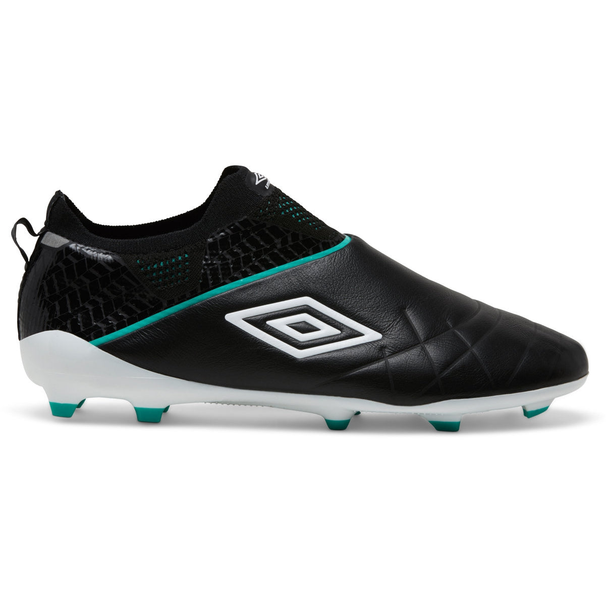Umbro Medusae Elite HG in Black with White Umbro logo and Marine Green detailing