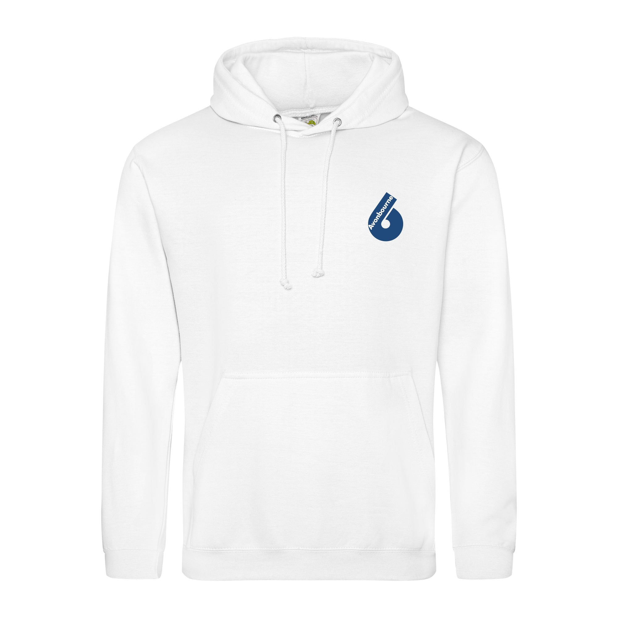 Avonbourne 6th form leavers hoody in white with sixth form logo on left chest