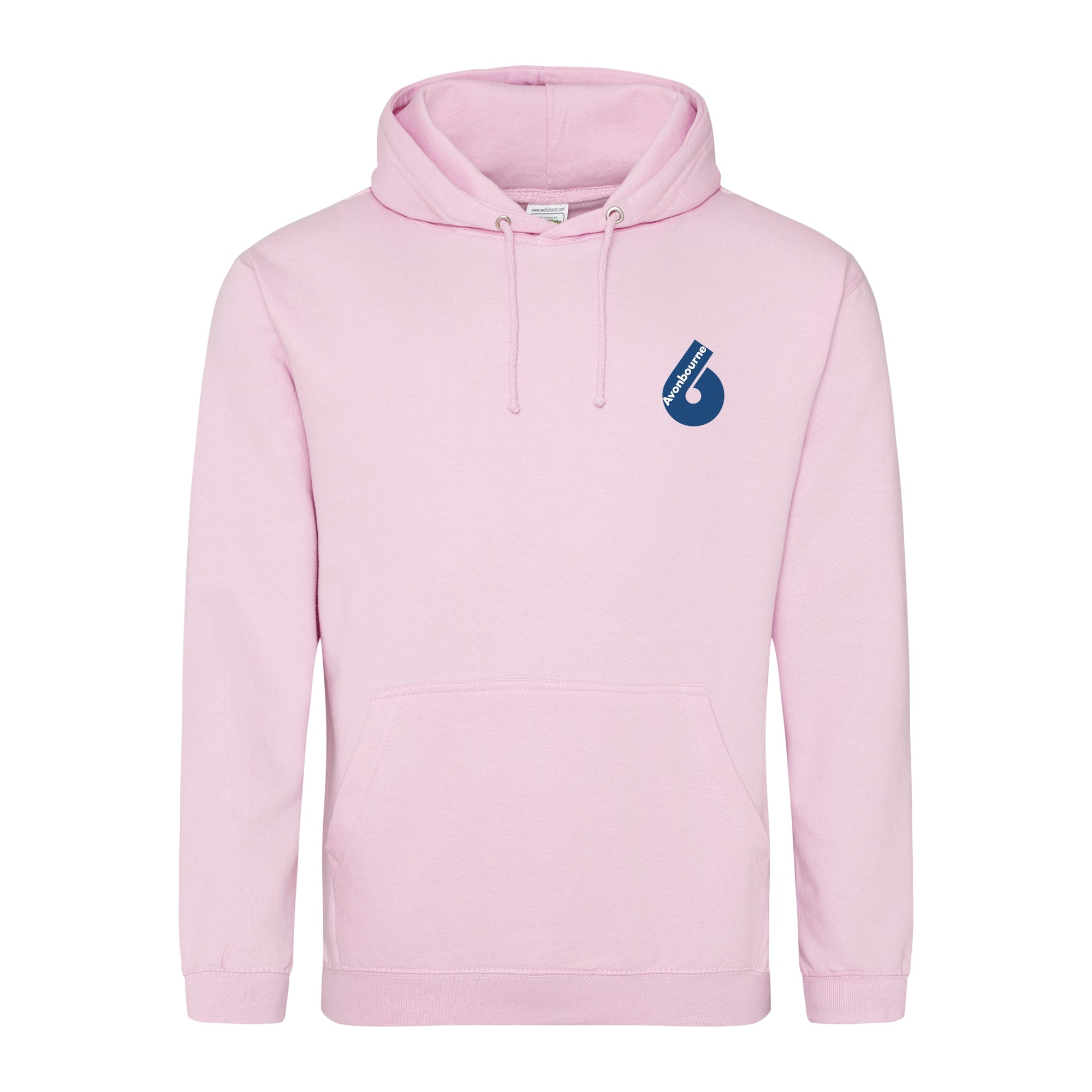 Avonbourne 6th form hoody in baby pink with sixth form logo on left chest