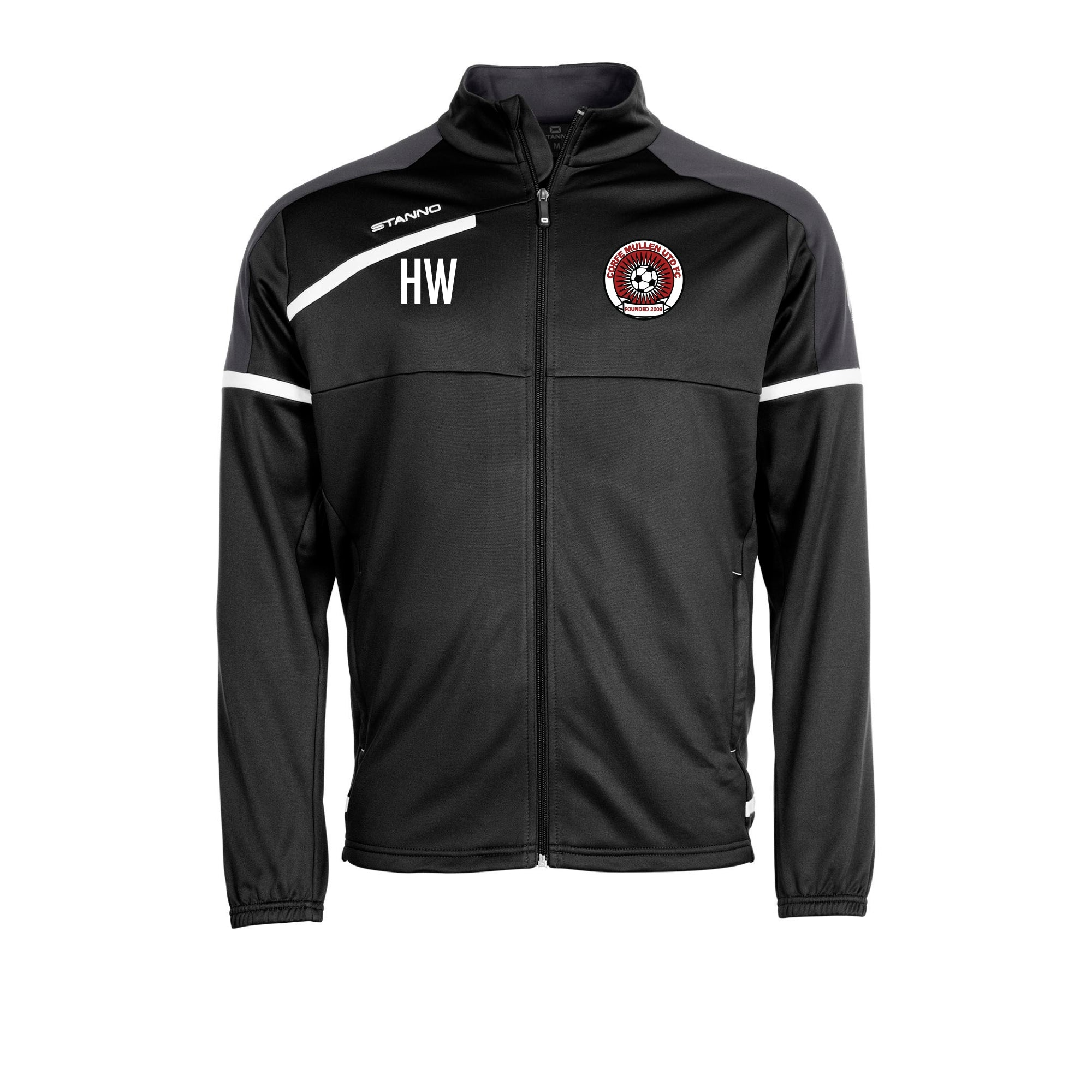 Corfe Mullen Utd FC Stanno Prestige Top Full Zip in Black with embroidered club badge