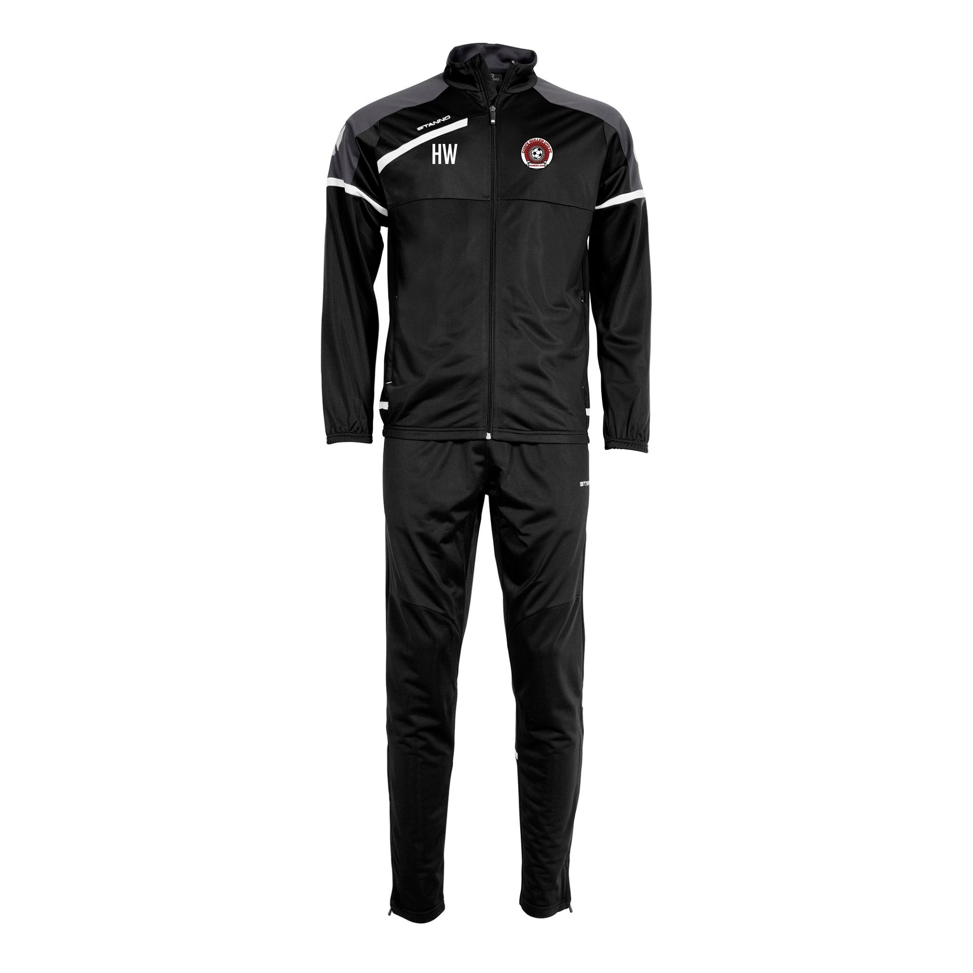 Corfe Mullen Utd FC Stanno Prestige Poly Suit in Black with embroidered club badge