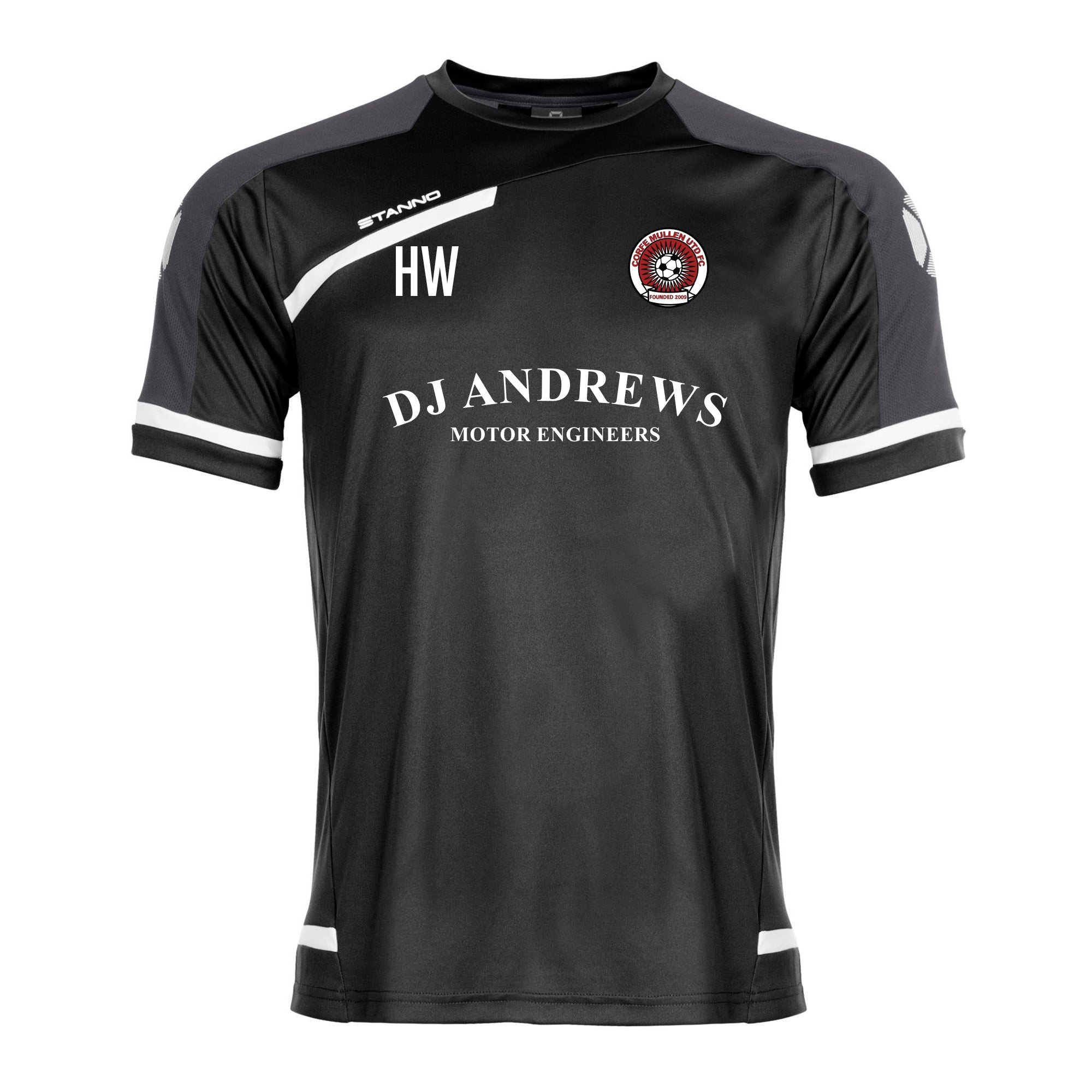 Corfe Mullen Utd FC Stanno Prestige T-Shirt in Black with DJ Andrews sponsor logo on the front