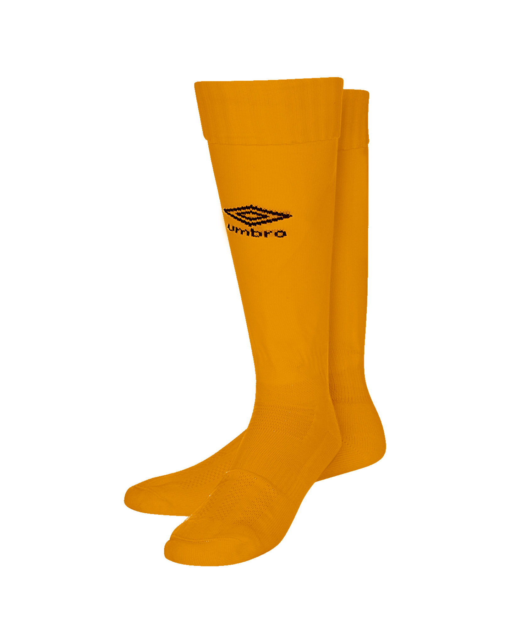 Umbro Classico football sock in amber with black Diamond logo on the front