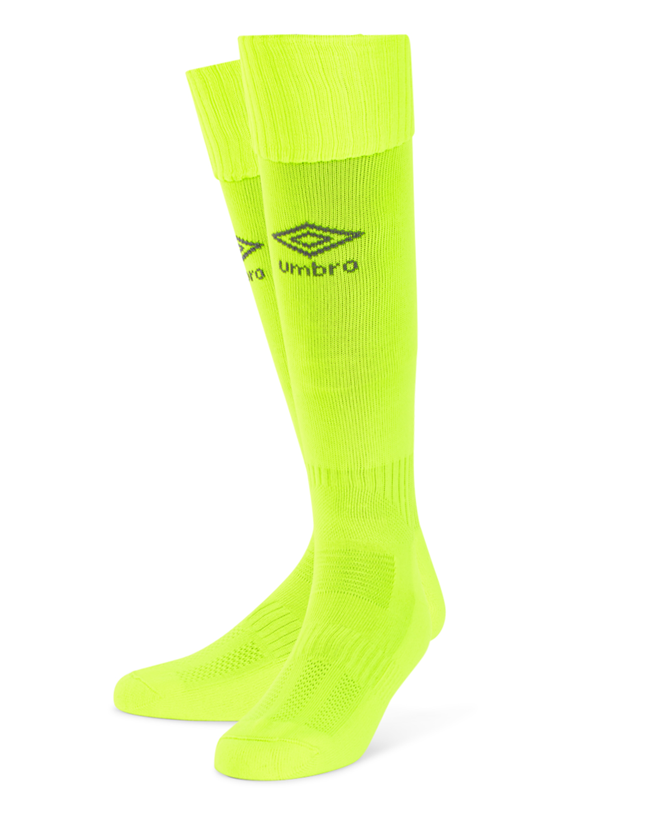 Umbro Classico football sock in safety yellow with carbon Diamond logo on the front